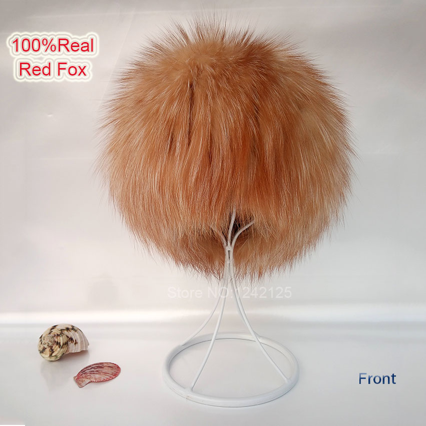 New autumn winter Parent-child women red fox fur hats warm knitted beanies real fur cap high quality kitting female fur hat