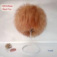 Nuevo otoño invierno del Padre-niño de las mujeres de piel de zorro rojo sombreros calientes kitting gorro de piel verdadera de la alta calidad de punto gorros de piel femenina sombrero