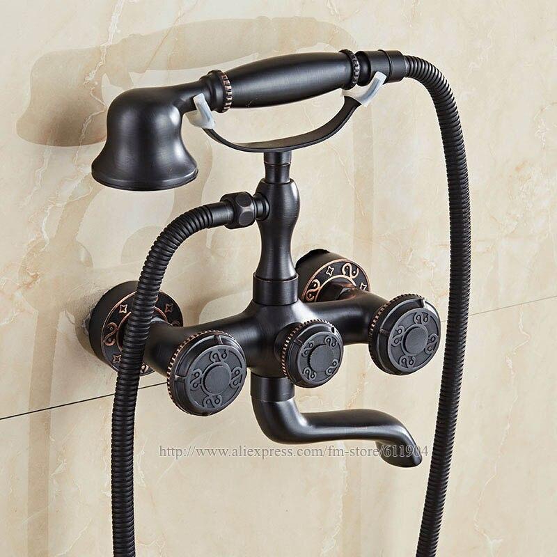 ORB Messing Wand Halterung Ständer Badezimmer Clawfoot Badewanne Wasserhahn Mit Hand Dusche Kopf Kalten Heißer Mischbatterie Antike Schwarz JP255