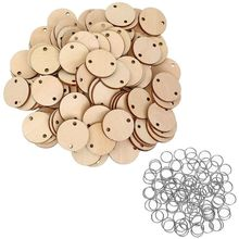 100 Pieces Round Wooden Discs with Holes Birthday Board Tags and 15 mm Rings for Arts Crafts (3CM)
