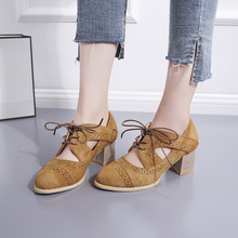 2019 New PUMPS Brogue Sandals Woman Platform Oxfords British Style Creepers Cut-