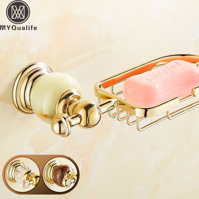 Crystal and Jade Golden Bathroom Kitchen Soap Dish Basket Wall Mounted Brass Dish Holder Free Shipping wall mounted plastic soap dish holder