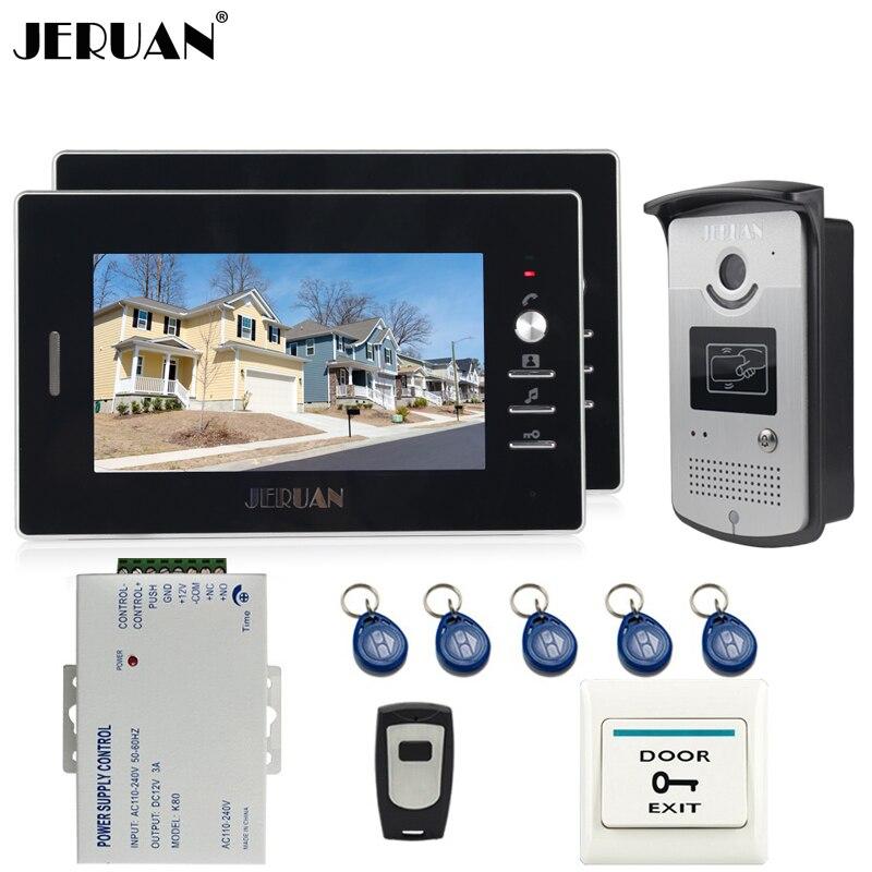 JERUAN 7 zoll Video Tür Sprechanlage System kit 2 Schwarz Monitor 700TVL RFID Zugang IR Nacht Vision Kamera Für 2 haushalts-in Videosprechanlage aus Sicherheit und Schutz bei title=
