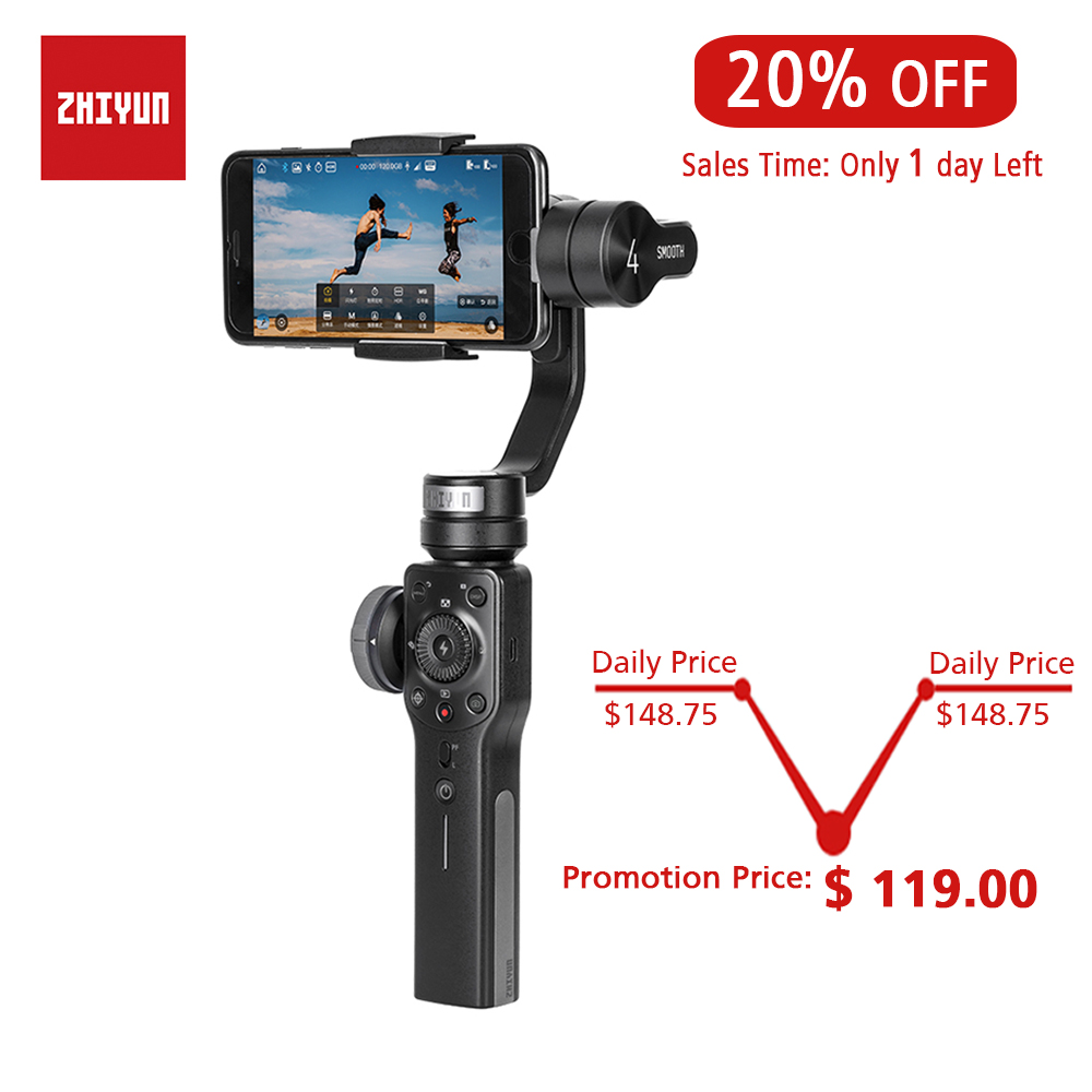 ZHIYUN Official Smooth 4 3-Axis Handheld Gimbal Stabilizer for Smartphone iPhone X 8 Plus 7 6 SE Samsung Galaxy S9,8,7,6ZHIYUN Official Smooth 4 3-Axis Handheld Gimbal Stabilizer for Smartphone iPhone X 8 Plus 7 6 SE Samsung Galaxy S9,8,7,6