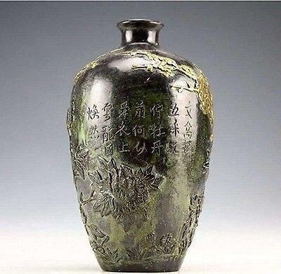 Ev ve Bahçe'ten Vazolar'de Çin Vintage Koleksiyonu bronz heykeller Altın kaplama Çiçek Kuş Vazo 20 cm'da  Grup 2
