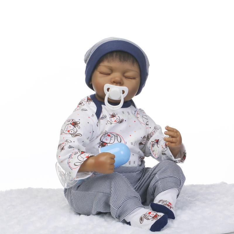 все цены на Nicery 20-22inch 50-55cm Bebe Reborn Doll Indian Style Soft Silicone Boy Girl Toy Reborn Baby Doll Gift for Child Rabbit Baby онлайн