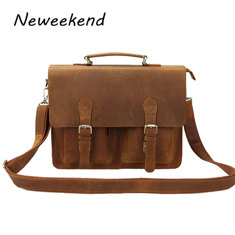 NEEWEEKEND HS0344 Genuine Leather Crazy Horse Detachable  Zipper Handbag Crossbody Briefcase iPad Phone Bag for Man neweekend 1005 vintage genuine leather crazy horse large 4 pockets camera crossbody briefcase handbag laptop ipad bag for man