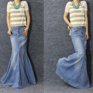 Floor Length Jean Skirt