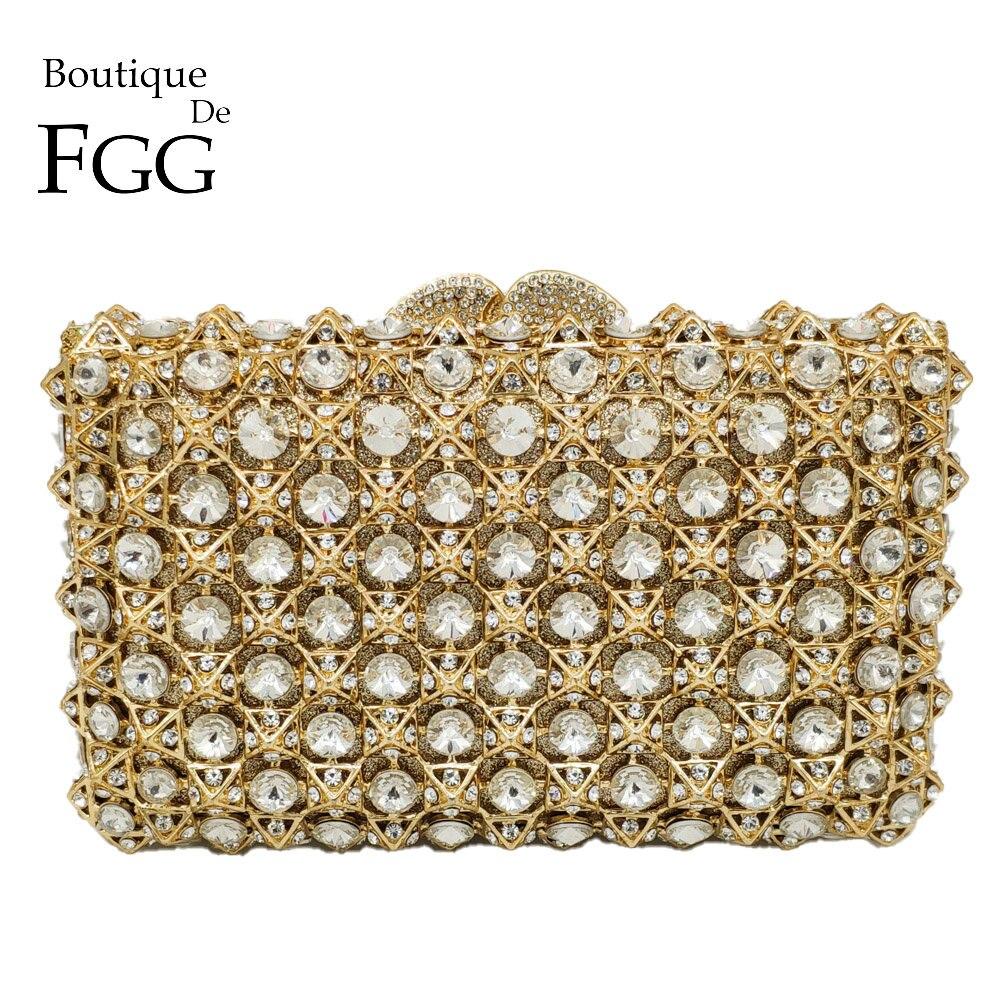 Boutique De FGG Nouveautés 2018 Collections automne Évider Femmes Cristal Embrayage Sac De Soirée Sacs À Main De Luxe Sac De Fête De Mariage