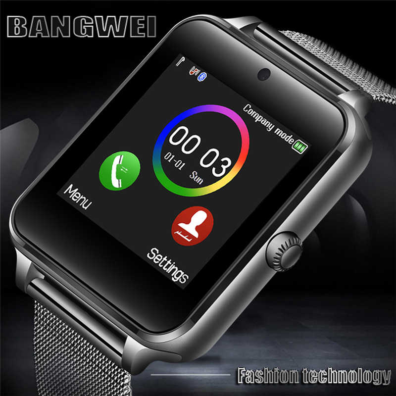 BANGWEI New Smart Men Watch Bluetooth Phone Camera Stainless steel strap sport Pedometer Smartwatch Android relogio inteligente