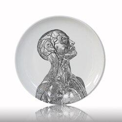 Estrutura do corpo humano placa decorativa artístico prato de cerâmica artesanato branco e preto placa de pintura para decoração casa estudo prato