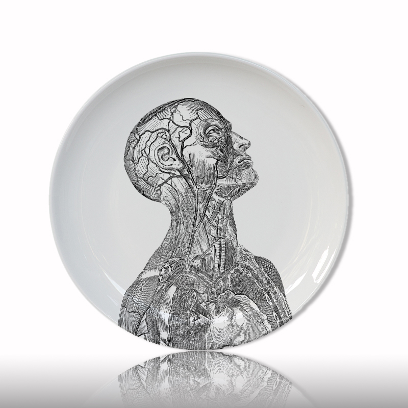 Human Body Structure Decorative Plate Artistic Ceramic Dish Craft White And Black Painting Plate For Home Decoration Study Dish