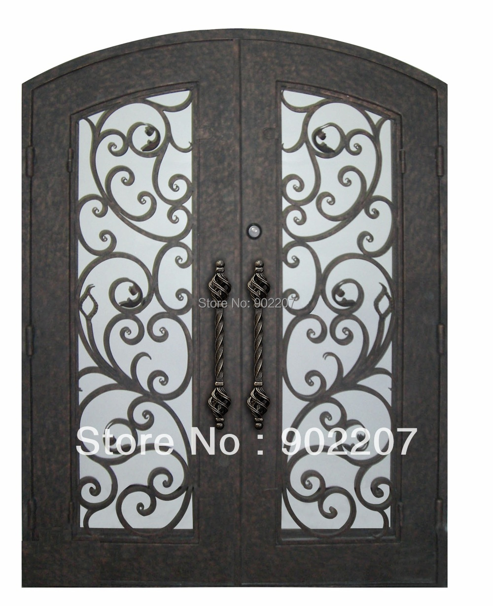 Shanghai Henchuang custom design Boutique wrought iron entry door ...