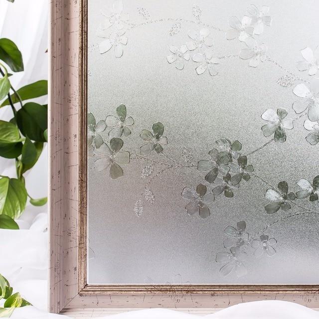 Merveilleux CottonColors Bedroom Window TINT Films ,PVC No Glue 3D Static Flower  Decoration Privacy Window