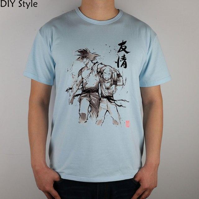 Dragon Ball Goku and Krillin Sumi style T-shirt cotton Lycra top  Fashion Brand t shirt men new