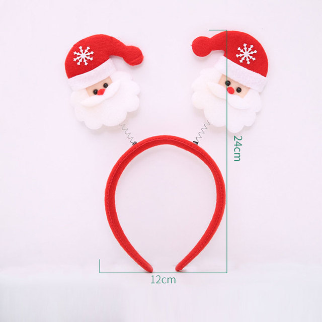 Cute Christmas Theme Headband Santa /Snowman /Deer /Bear/ Glove /Horn Non-woven Kids Head Clasp Xmas Gift Home Decoration