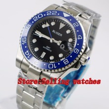 40mm Bliger black Dial blue ceramic bezel blue GMT Luminous Hands Sapphire Glass Automatic Movement Men's Mechanical watches