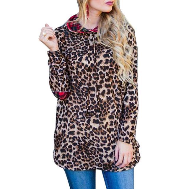 ffe4254087 2018 Echo657 New Women Casual Leopard Print Blouse Women Tops Long Sleeve  Hoodie Plaid Leopard Print Sweatshirt Long Blouse P35