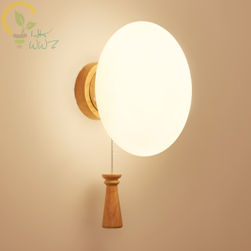 Hot Sales Decorate Solid Wood Wall Lamps Simple Glass Lampshade Wall Lights LivingRoom Bedroom Bedside Led Wall Lamp Stair LighHot Sales Decorate Solid Wood Wall Lamps Simple Glass Lampshade Wall Lights LivingRoom Bedroom Bedside Led Wall Lamp Stair Ligh