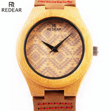 REDEAR New Men's Wood Watch With Leather Watchband Fashion Designer Bamboo Wooden Watch Waterproof Clock Man Quartz Wrist Watch