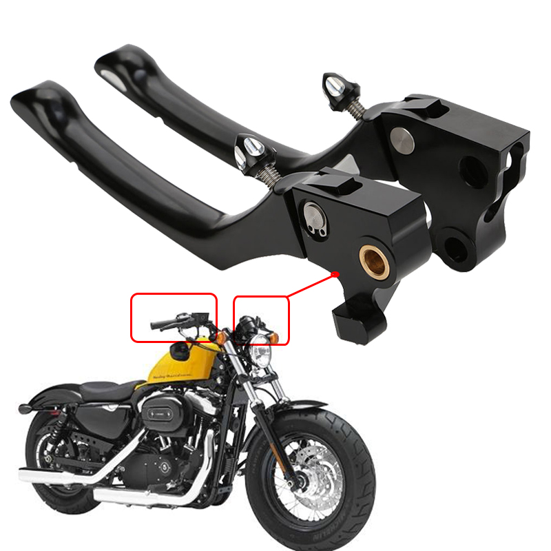 1 Pair Black CNC Regulator Brake Clutch Handle Levers For Harley Sportster XL883 XL1200 2004 - 2015 1 pair black cnc adjustable motorcycle clutch brake lever for harley davidson sportster 2004 2013 custom accessories