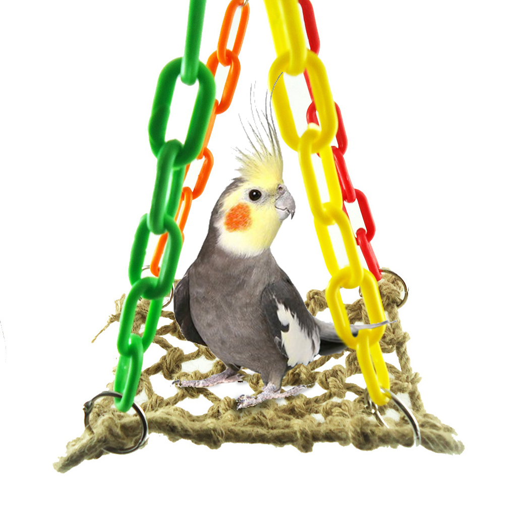 Durable Hemp Rope Swing Bird Toy Parrot Cage Toys Game Hanging Rope Climbing Net Play Gym Toys for Parrot Lovers