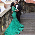 Green Lace Appliques Mermaid Evening Dresses Vestido Longo Arab Dubai Dress Coyrt Train Sleeves Ribbons Prom Dress CF66