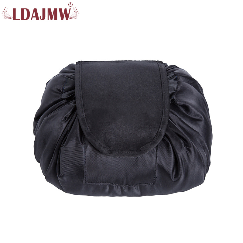 LDAJMW Drawstring Cosmetic Bag Large Capacity Travel Portable Lazy Cosmetic Bags Polyester Make Up Pouch