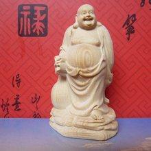 Natural boxwood, wood carving, cloth bag Maitreya Buddha, decorative arts and crafts