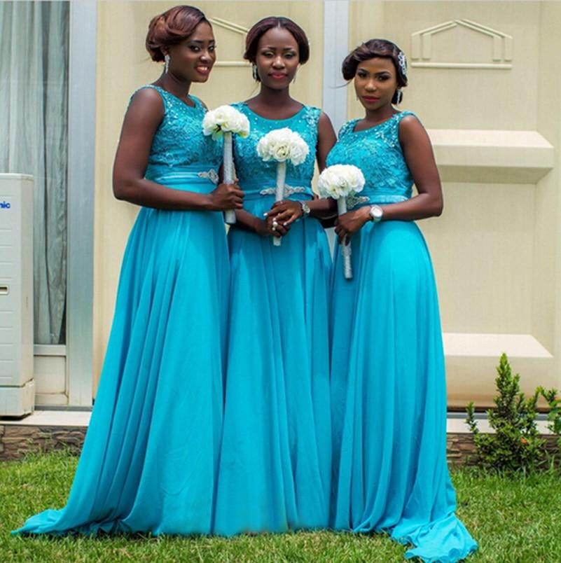 Vestido Invitada Boda Largo Blue Chiffon Wedding Bridesmaid Dresses ...