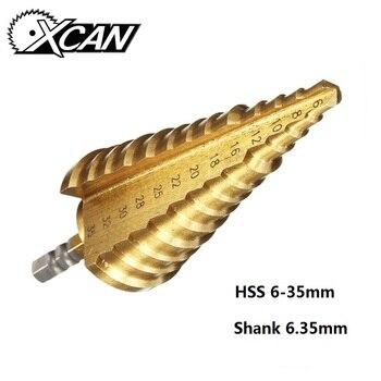 XCAN 1 шт. 6-35 мм шестигранный хвостовик титановое покрытие прямой слот 13 ступенчатый высокоскоростной стальной набор резцов отверстий P6M5 ступ...