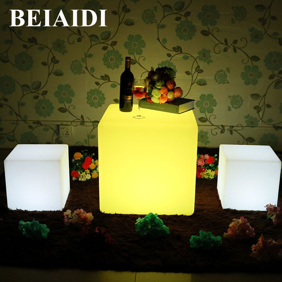 BEIAIDI IP68 Outdoor Garden <font><b>LED</b></font> <font><b>Cube</b></font> Table Lights 16 RGB Color Rechargeable Cordless Party KTV Bar Desk Lamp with Remote Control image