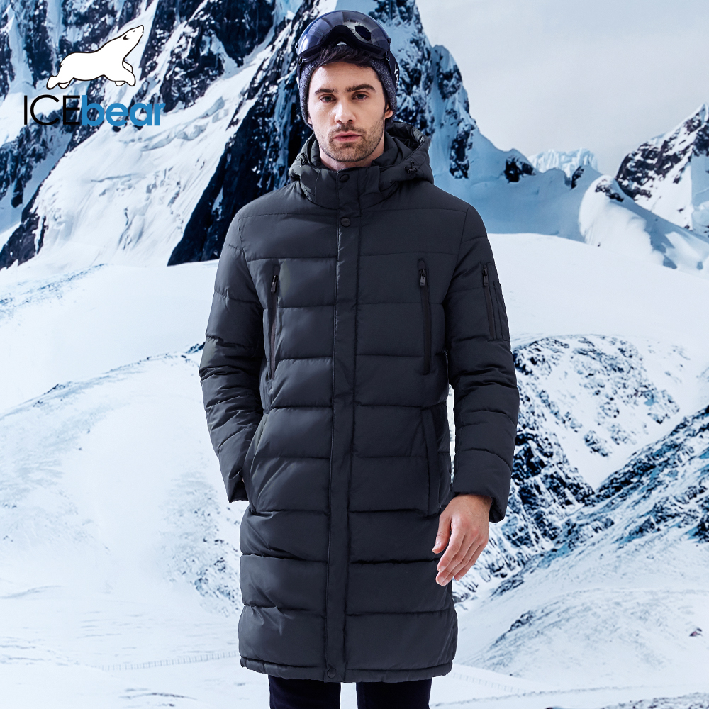 ICEbear 2018 abrigo largo para hombre de invierno exquisito bolsillo de brazo para hombre Parka sólida abrigada puños diseño chaqueta de tela transpirable B17M298D