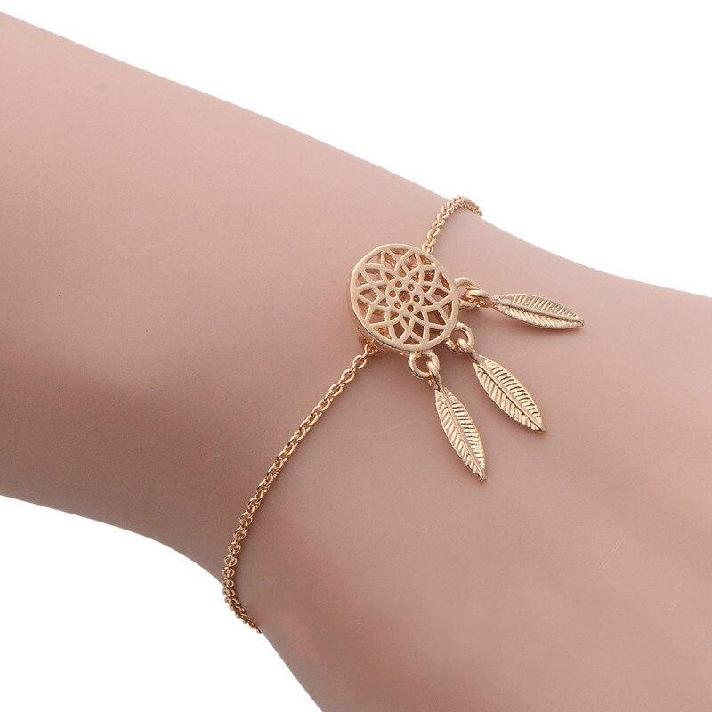 Dreamcatcher Charm Bracelets&Bangles 2016 Women Alloy Matel Feather Link Chain Statement Bracelet Dream Catcher Pendant Bracelet
