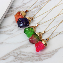 HuaTang Trendy Alloy Multicolour Natural Stone Chain Necklace Rhinestone Quartz Pendant Charms Necklaces Collar Brincos 2470