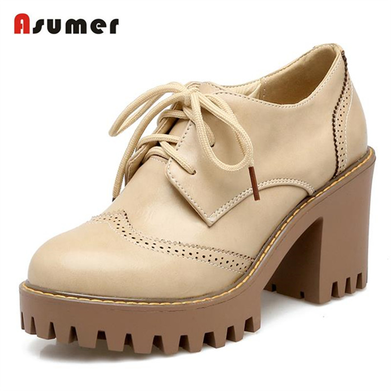 Asumer large size 31-43 lace-up women pumps platform shoes fashion comfortable retro round toe high heels  shoes for women