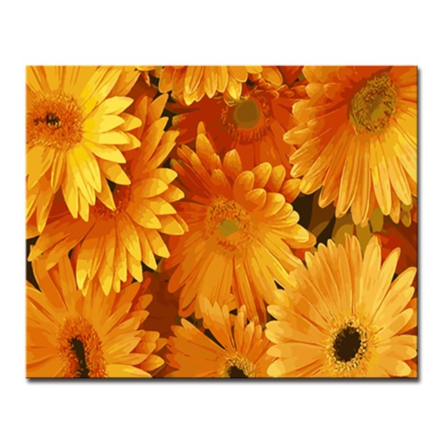 Framed Diy Yellow Daisies Flower Oil Painting By Numbers Kits Colors
