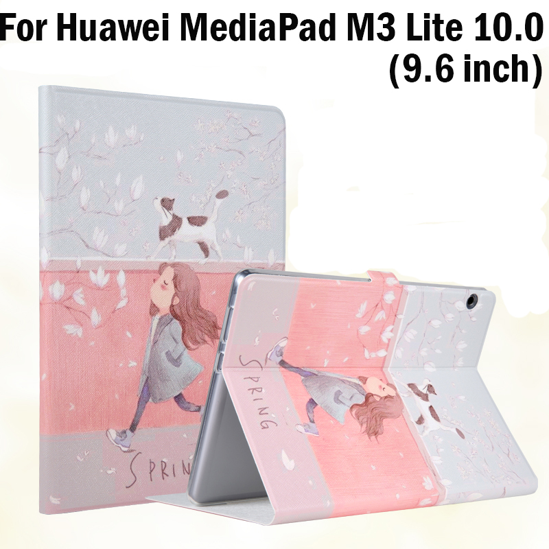High Quality PU+TPU Soft Case stand cover For Huawei MediaPad M3 Lite 10.0 BAH-W09 BAH-AL00 9.6 inch tablet protective skin+gift for ipad mini4 cover high quality soft tpu rubber back case for ipad mini 4 silicone back cover semi transparent case shell skin