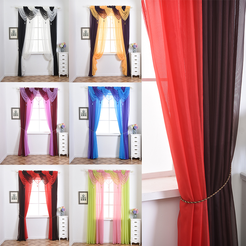 Hot Sale 1 Pc Valance Curtains With Spike For Living Room Window Curtains Home Decoration Pelmet Curtain Size 45*45 CM #266527