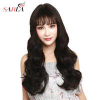 Long Synthetic Wig With Bangs Black Grey Brown Wavy For Women Machine Hair Cosaplay Halloween Full End Wigs SARLA T-LW89
