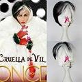 Free Shipping 101 Dalmatians Cruella Devil Short Straight Black White Color Women Cosplay Costume Wig