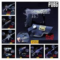 New Playerunknown's Battlegrounds PUBG P1911 M16A4 98k M762 G36C MP5K Cosplay Props Gun Metal Keychain Toy 6Pcs/Set Wholesale