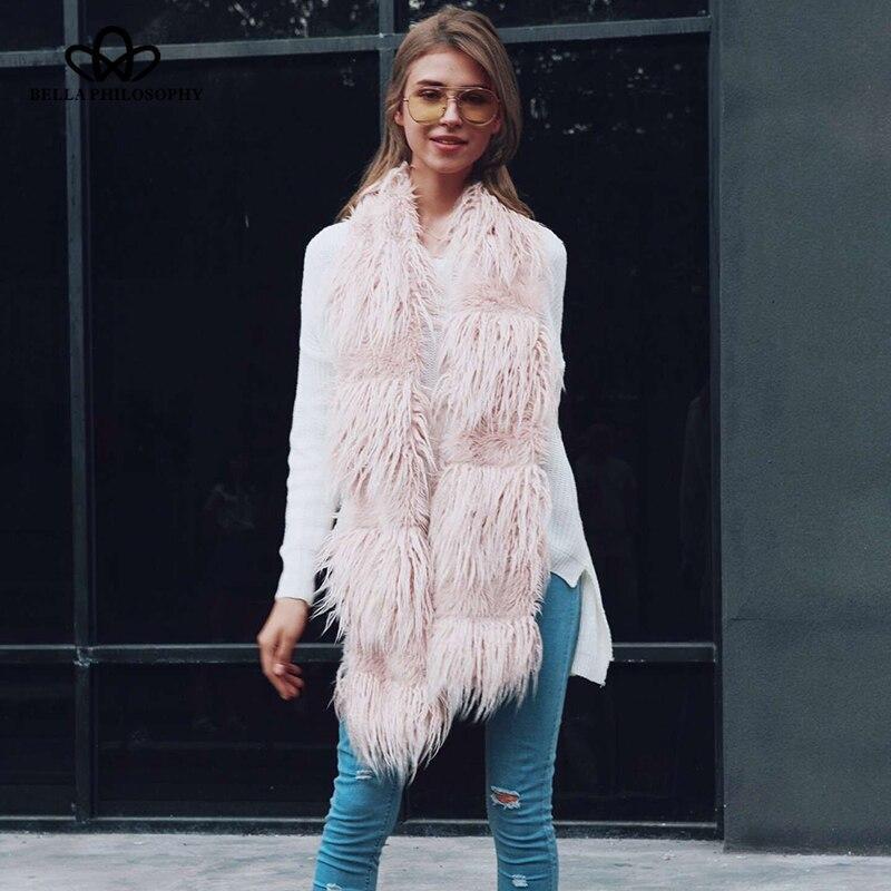 Bella Philosophy 2018 Winter faux lamb fur Women scarf solid fashion outwear scarf tassel long women Adult street casual scarf