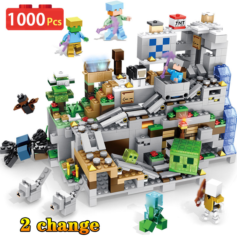 купить My World Minecraft Cave Building Blocks Compatible LegoINGLYS Minecraft Aminal Alex Action Figures Brick Toys For Children Boys недорого