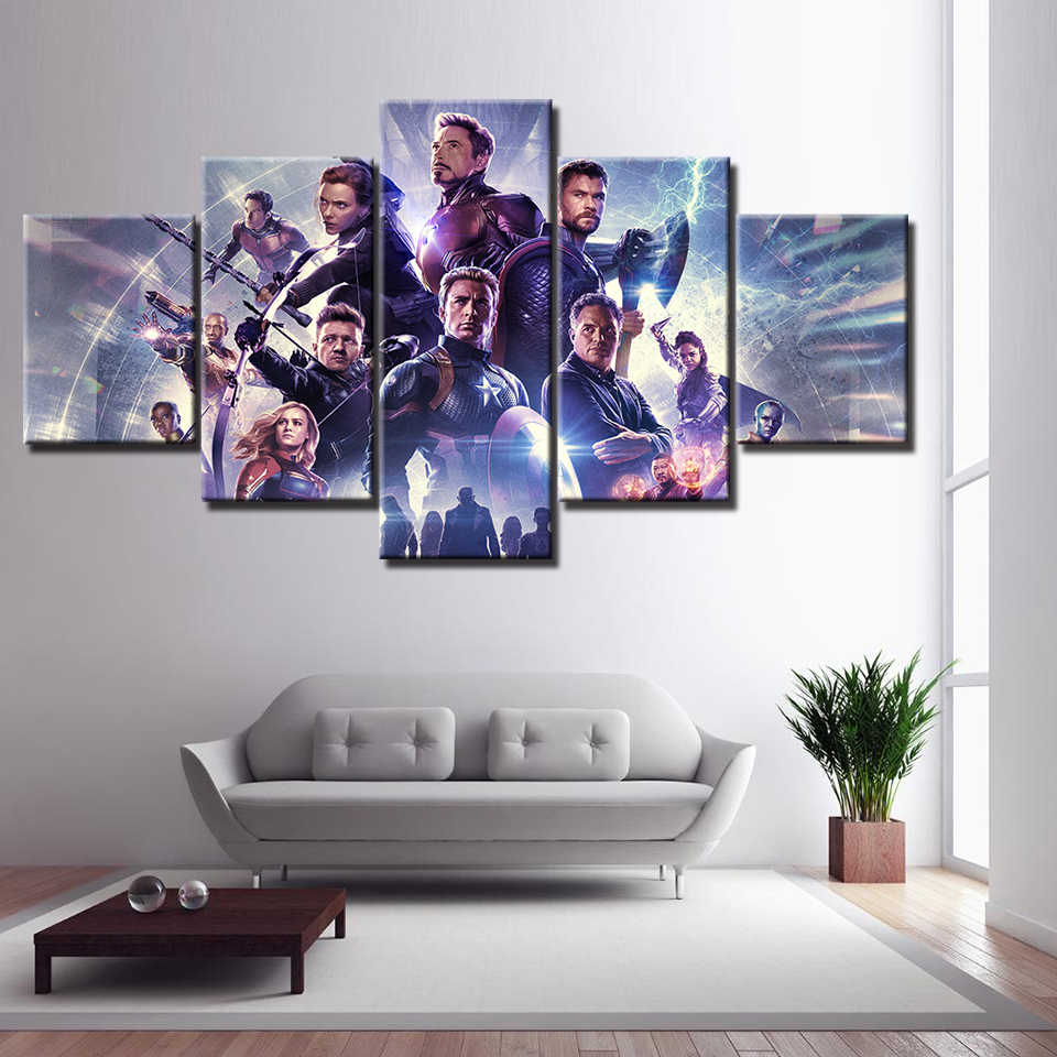 Movie poster Avengers 4 Endgame Hero Character 5 Piece Wall Art HD Picture Home Decoration For Living Room Print Canvas Painting