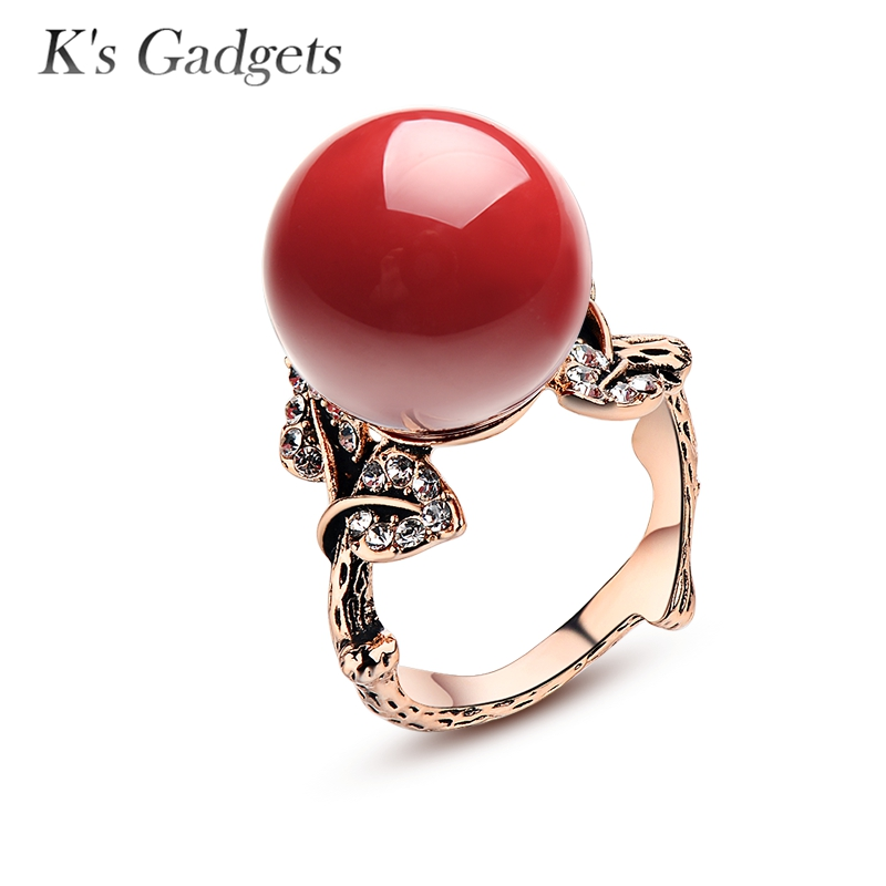 K'S Gadgets Natural Artificial Coral Stone Ring Red Coral Ring Antique Silver Rose Gold color Natural Stone Women Zircon Rubi