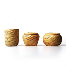 bamboo Weave Storage box with lid tea set canister bamboo Sealed jar travel Portable tea box Accessories Crafts handmade natural
