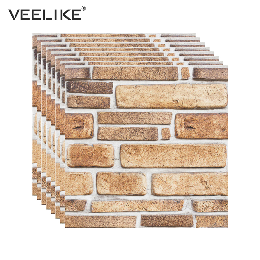 Vintage Decor Brick 3D Wall Panels PVC Self Adhesive Wallpaper For Kitchen Backsplash Tiles Living Room Wall Papers Home Decor