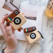 Fashion Luxury 3D Cute Cartoon Camera Silicone For Airpods 1 2 Case Bluetooth Wireless Earphone Earpod Cover with Keychain