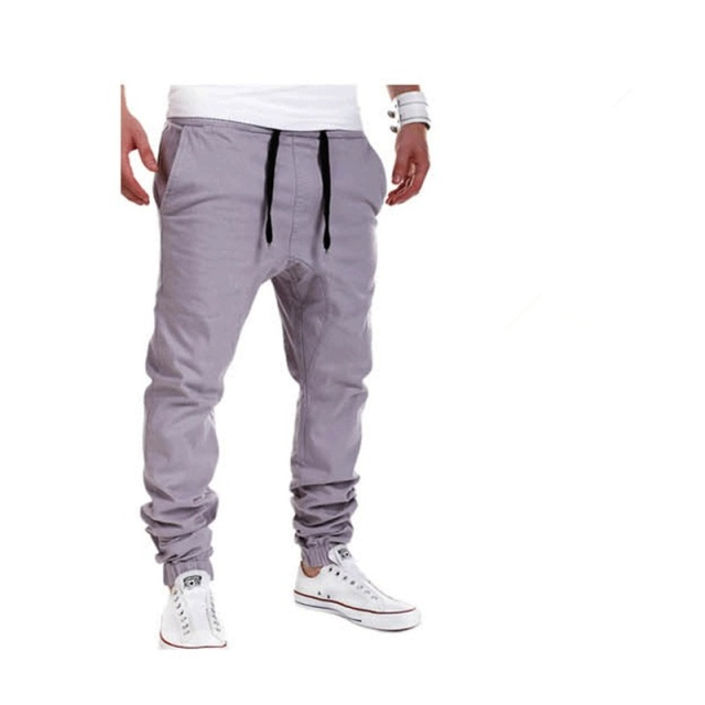 2020 Brand mens Casual Tethered elastic waist trousers Solid color Beam foot pants hip hop Pencil pants male Sweatpants 6 colors 5